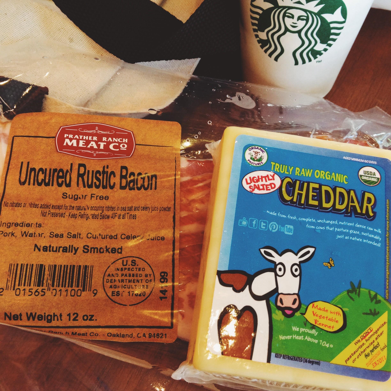 delicious healthy low carb keto atkins food bacon cheese coffee