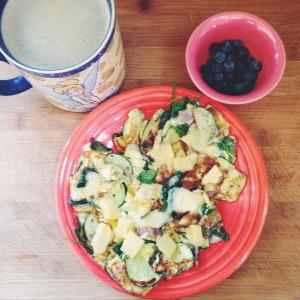 Blueberries, cheese, veggies
